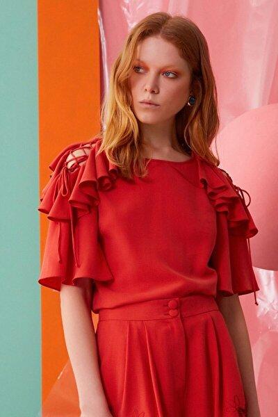 Kadın Mercan Rengi Omuz Fırfır Ve İp Detaylı Bluz