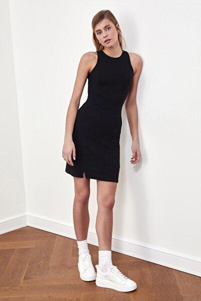 Siyah Fitilli Halter Yaka Örme Elbise TWOSS21EL1487