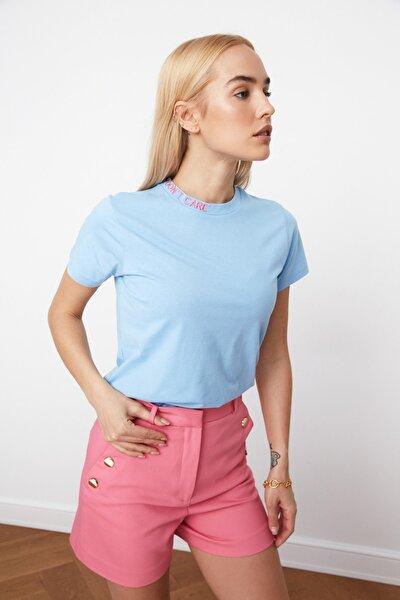 Mavi Nakışlı Basic Örme T-Shirt TWOSS20TS0464