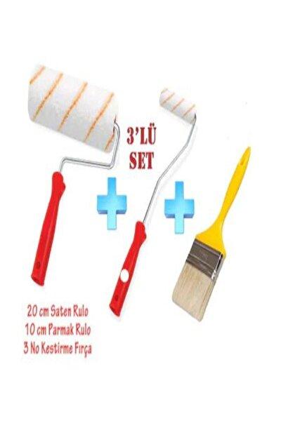 Boyacı Seti 3'lü Set Saten Rulo + Parmak Rulo +kestirme Fırça Set