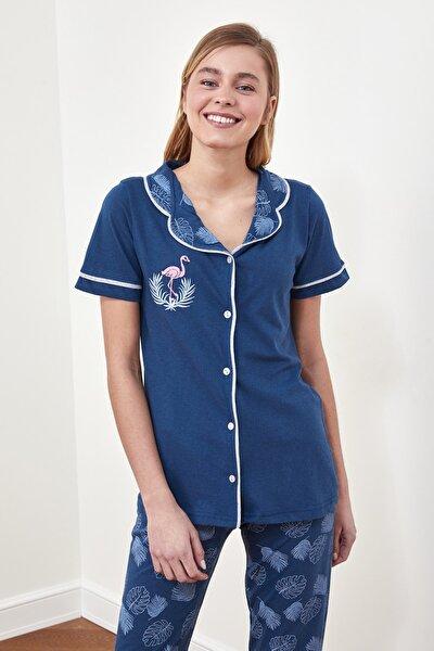 Lacivert Baskılı Örme Pijama Takımı THMSS21PT0486
