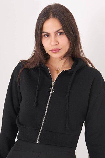 Kadın Siyah Fermuarlı Sweat H0668 - L9 - Y2 Adx-0000019012