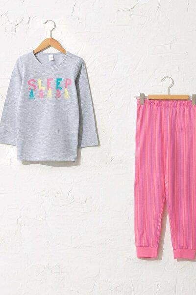 Kız Çocuk Gri Melanj Ct3 Pijama Takımı