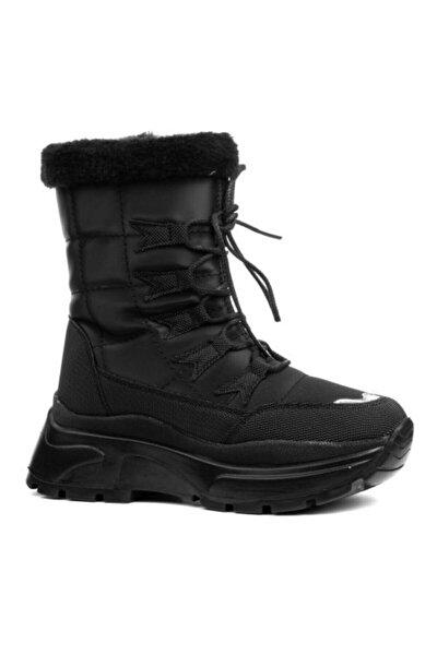 Kadın Siyah Kışlık İçi Kürklü Bot Ayakkabı