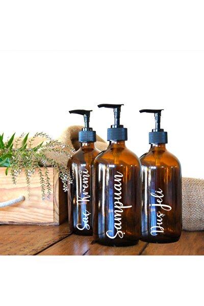 Amber Cam Şişe - Şampuan, Saç Kremi Ve Duş Jeli 3'lü Banyo Seti - 500 Ml.