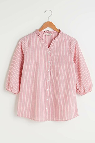 Kadın Pembe Çizgili LCW Grace Gömlek