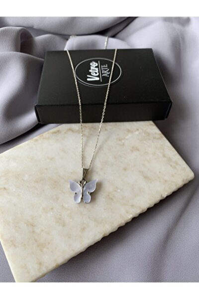 925 Ayar Gümüş Zincir Sedefli Beyaz Kelebek Kolye