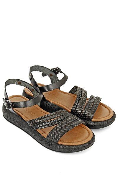Hakiki Deri Siyah Kadın Sandalet 35815