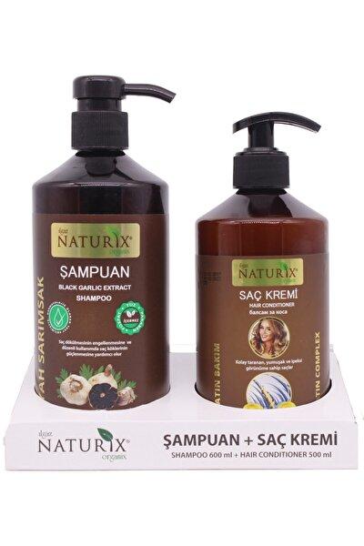 Tuzsuz Şampuan Seti 2'li Siyah Sarımsak Şampuan 600 Ml Şampuan + 500 Ml Keratin Bakım Saç Kremi