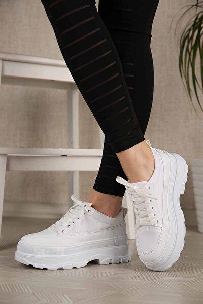 Kadın Beyaz Keten Yüksek Tabanlı Spor Ayakkabı