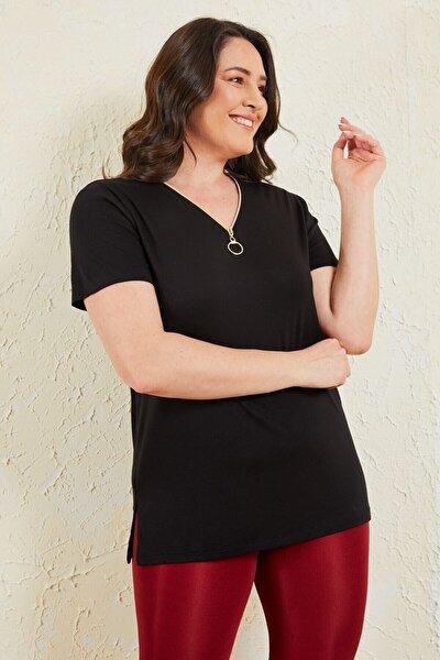 Kadın Büyük Beden Siyah Fermuar Detaylı Bluz