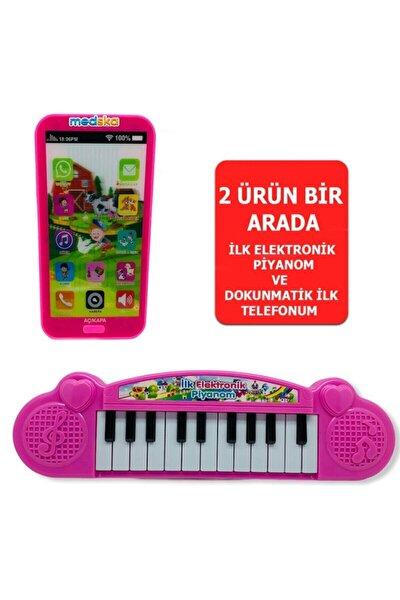 Türkçe Müzikli Hayvan Sesli Dokunmatik Telefon Pembe Ve Piyano 22 Tuşlu Sesli Ilk Elektronik Piyano