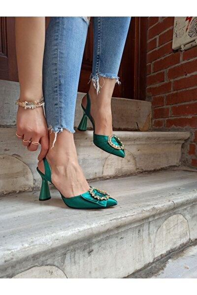 Kadın  Yeşil Saten Taşlı Abiye Ayakkabı