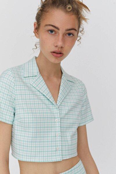Kadın Kısa Kollu Crop Fit Kareli Gömlek