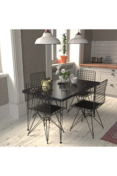 Masa Sandalye Takımı Mermer Desen 120x70 Cm Masa 4 Sandalye Seti