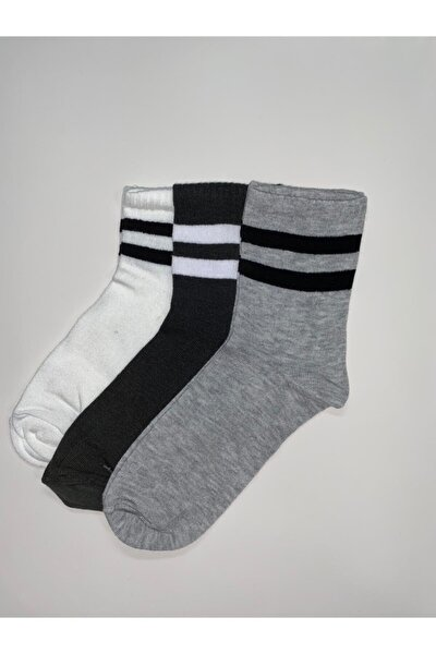 Unisex  Paket Şeritli Soket Çorap 3'lü