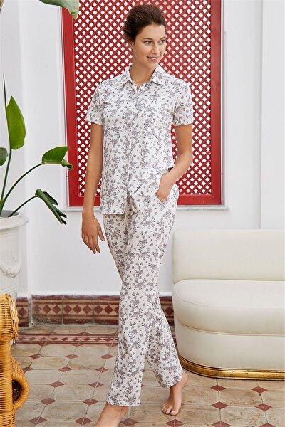 Kadın Krem Kısa Kollu Pijama Takımı 28674