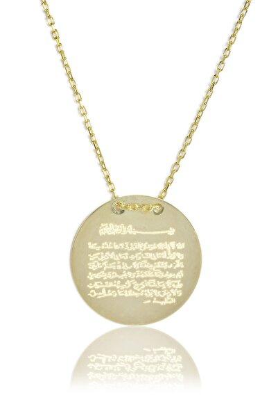 Kadın 925 Ayar Gümüş  Ayetel Kursi Kolye - Sarı Altın KL-0127
