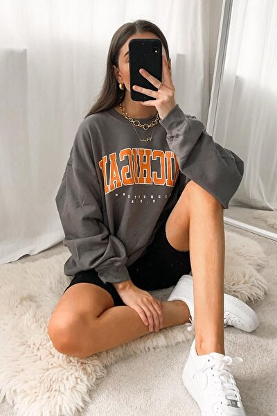 Mad Girls Antrasit Sweatshirt Mg785