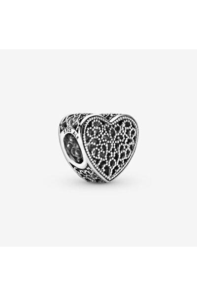 Telkari Ve Boncuklu Kalp Gümüş Charm