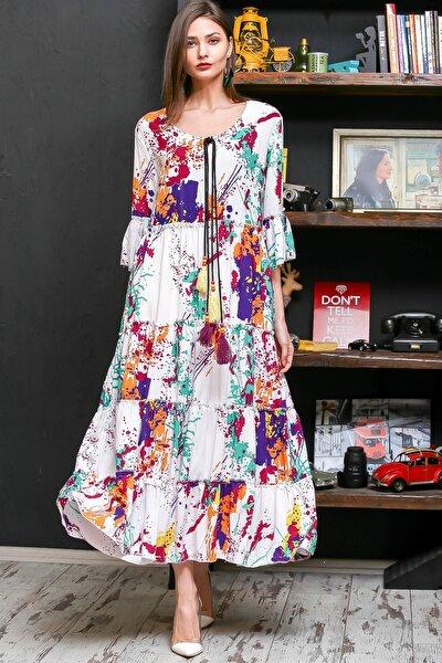 Kadın Beyaz Fırça Desen Püsküllü Bağcıklı Salaş Dokuma Elbise M10160000EL95926