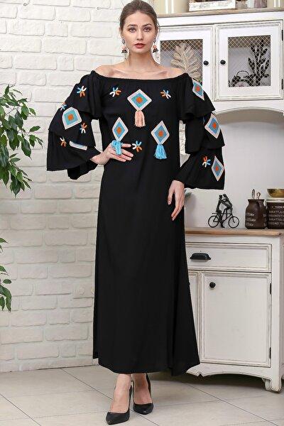 Kadın Siyah Carmen Yaka Geometrik Püskül Nakışlı Kolları Kat Kat Dokuma Elbise M10160000EL95914