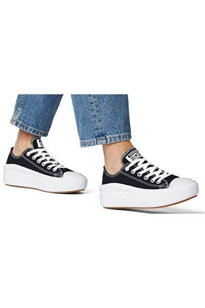 Kadın Siyah All Star  Beyaz Kalın Yüksek Taban Ayakkabı 570256c V2
