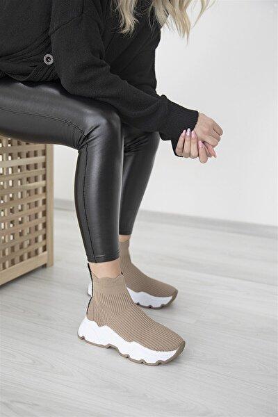 Kadın Bej Irina Streç Triko Nude Spor Ayakkabı