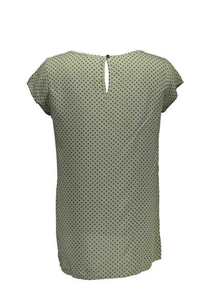 Kadın Mint Puantiyeli Kısa Kol Bluz
