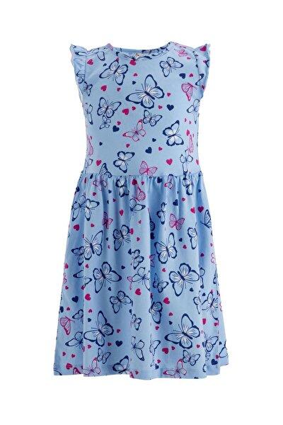 Kız Çocuk Çiçek Desenli Kolsuz Elbise