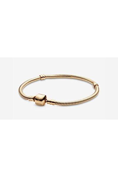 Kadın Sarı Pandora Uyumlu Gold Klasik Gümüş Charm Bileklik