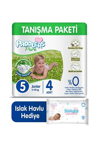 Pure Bebek Bezi 5 Numara Junior 4 Adet (11-18 Kg)+ 40'lı Islak Havlu