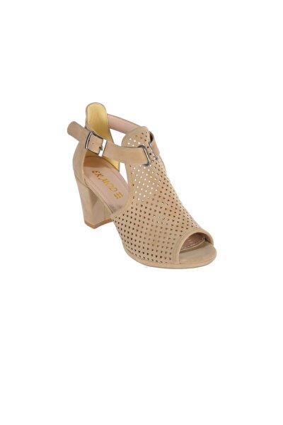 1205 Ten Süet Kadın Topuklu Ayakkabı