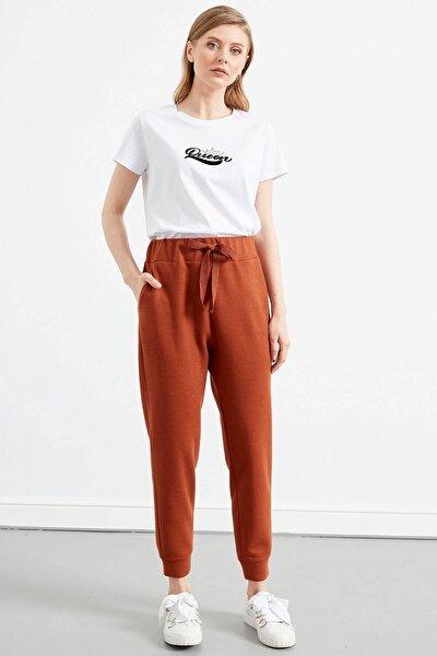 Kadın Kiremit Renk Bel Bağlama Detaylı Dar Paça Pantolon