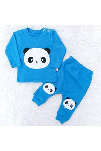 Erkek Bebek Mavi Dombili Sevimli Panda Nakışlı 2'li Takım