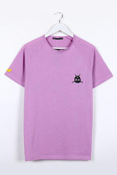 Kedi Nakışlı Lila Unisex Tshirt