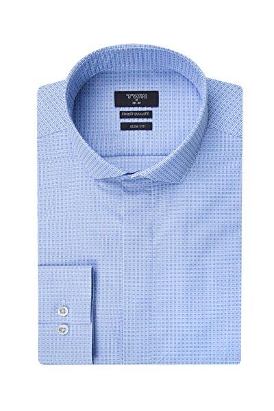 Twn Slim Fit Mavi Desenli Gömlek