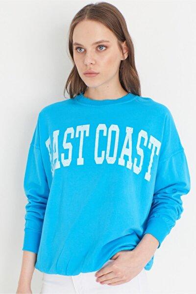 East Coast Baskılı Sweatshırt- Mavi