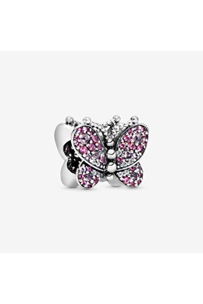 Pembe Taşlı Kelebek Gümüş Charm