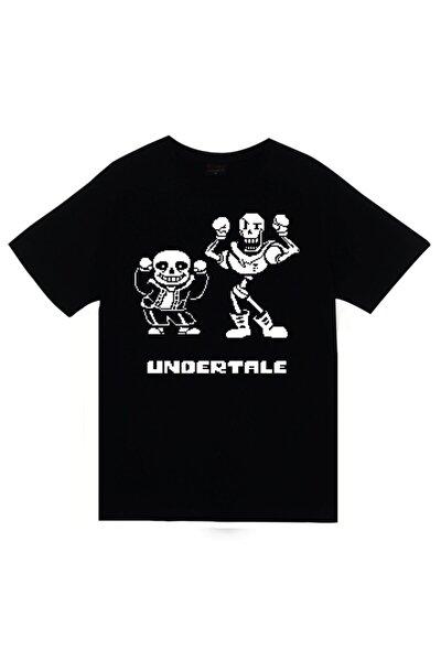 Unisex Siyah Undertale Baskılı T-shirt