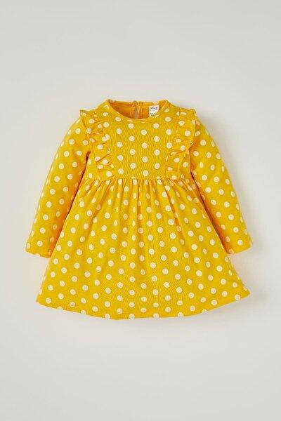 Kız Bebek Puantiye Desenli Fırfır Detaylı Elbise T6876A221SP