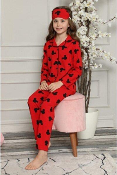Kız Çocuk Kırmızı Mickey Desenli Pijama Takımı