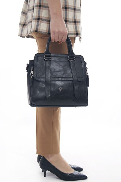 Siyah Kadın Çok Cepli Deri El Ve Omuz çantası