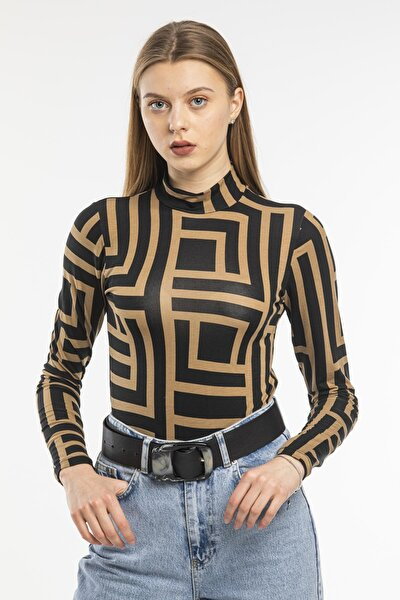 Desenli Bluz Likralı Viskon Penye Kumaş