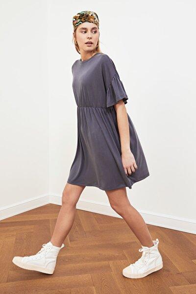 Antrasit Volanlı Örme Elbise TWOSS21EL1223