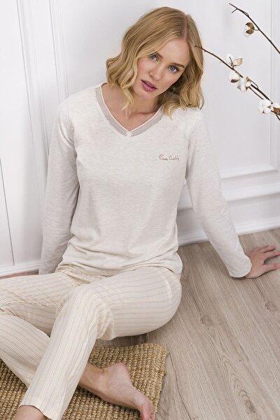 Krem Kadın Uzun Kol Pijama Takımı