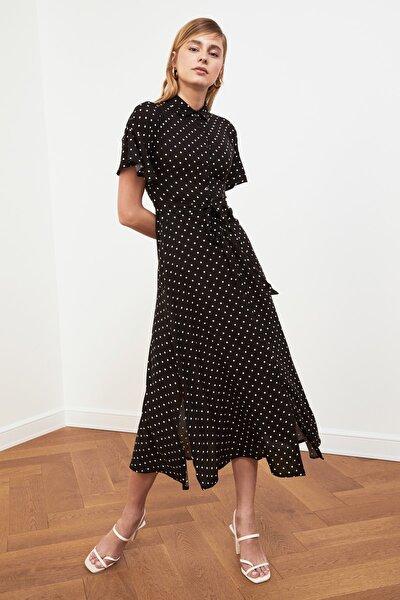 Siyah Kuşaklı Gömlek Elbise TWOSS19EL0094