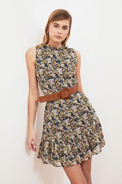 Ekru Desenli Fırfırlı Elbise TWOSS20EL0681
