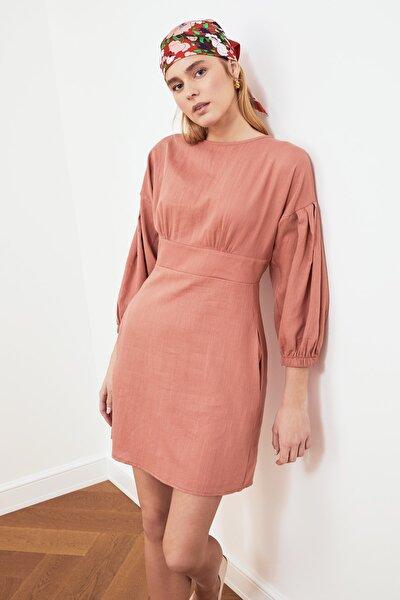 Gül Kurusu Kol ve Cep Detaylı Elbise TWOSS21EL0439