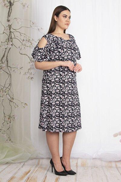 Kadın Renkli Omuz Dekolteli Çiçek Desenli Elbise 65N22386